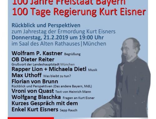 21.2.2019 Ein Tag – Zwei Veranstaltungen: 11 Uhr in der Kardinal-Faulhaber-Str. und 19 Uhr im Alten Rathaussaal u.a. mit Max Uthoff